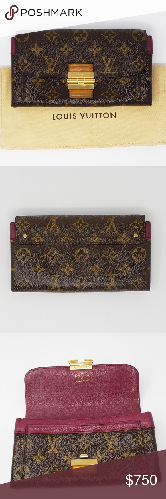 100 Auth Louis Vuitton Wallet Clutch Overall Condition is
