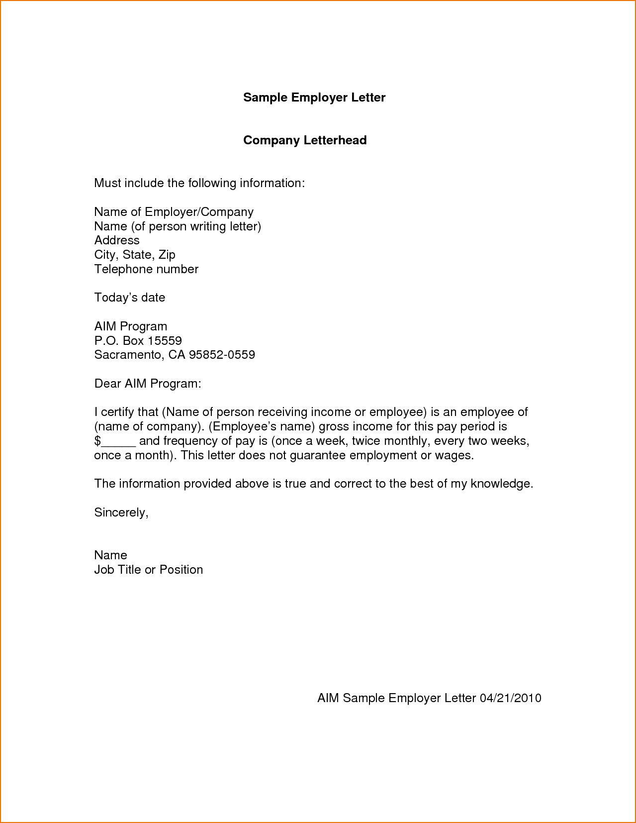 Letter of employment sample writing a good application for Cover letter no address of employer