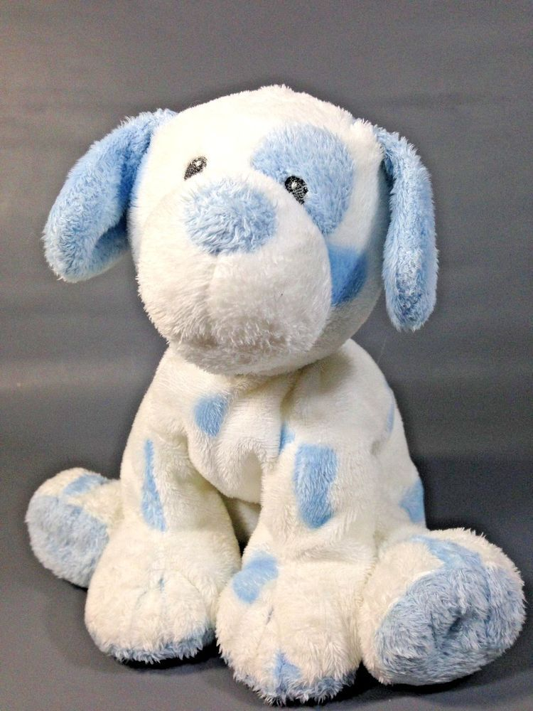 Ty Pluffies Pluffy White Blue Baby Pups Plush Stuffed Tylux Boy