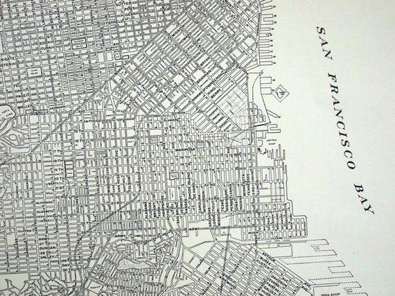 1937 Vintage City Map of San Francisco California City maps San