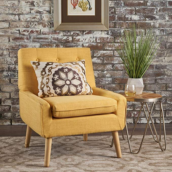 Eileen Buttoned Mid Century Modern Muted Yellow Fabric