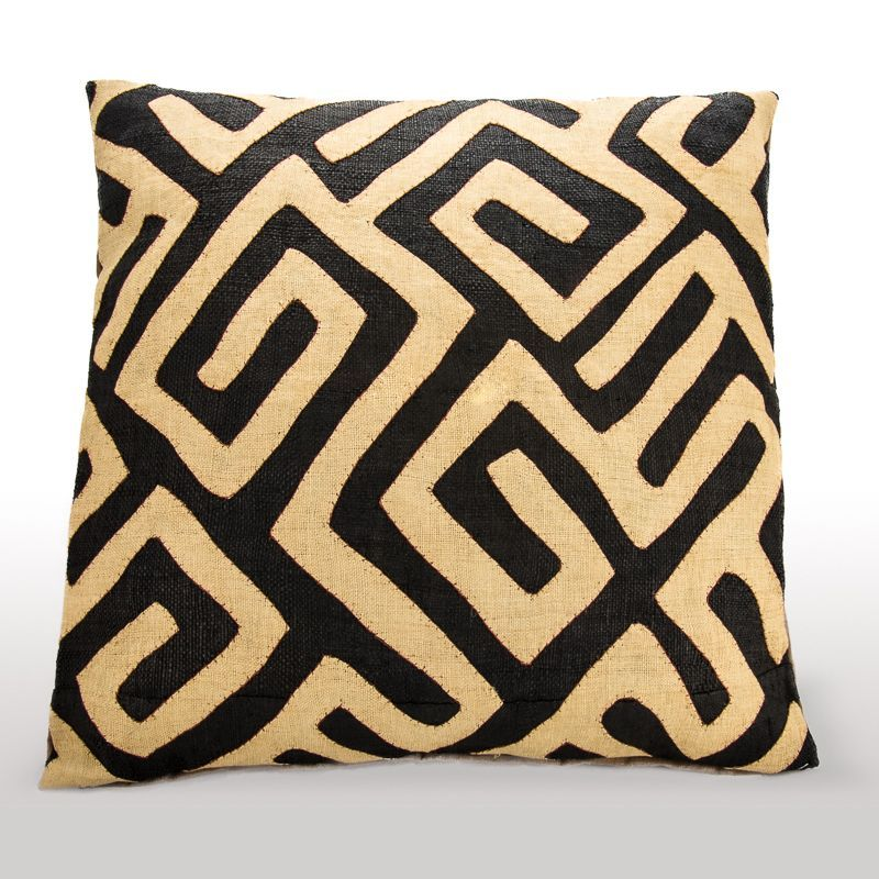 Cushion Cover Handmade In South Africa By Design Afrika Made From A Length Of Traditional Kuba Cloth Fabric The Congo Is Vegetable