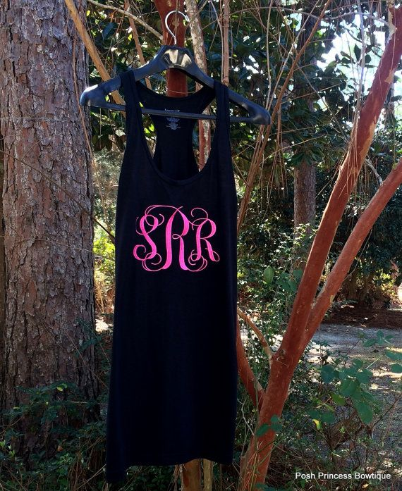 f119069aee Monogrammed Tank Swimsuit Coverup Monogrammed Bridesmaid Tank dress  Monogrammed Wedding Sleep wear Women Teens Beach cover up on Etsy, $34.99