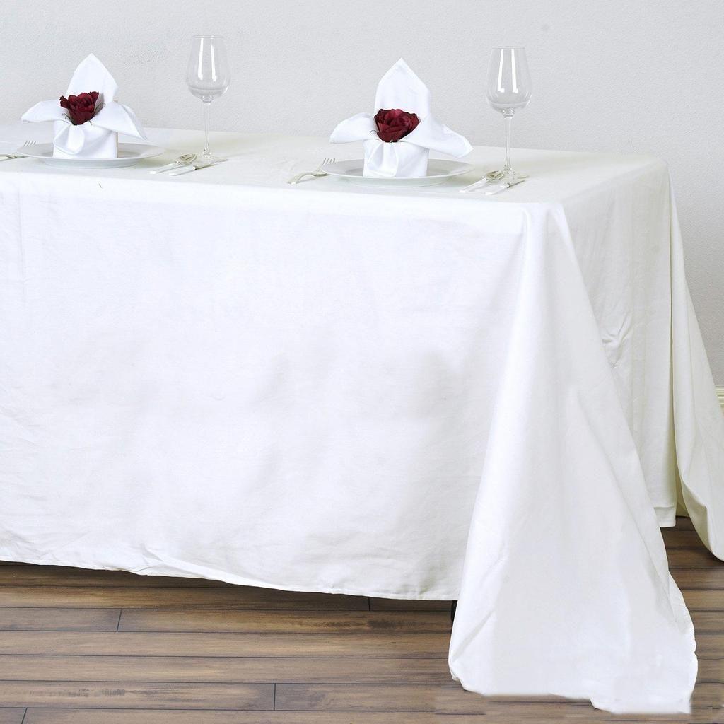 90x132 Ivory Rectangle Chambury Casa 100 Cotton Tablecloth Cotton Tablecloths Table Cloth White Table Cloth