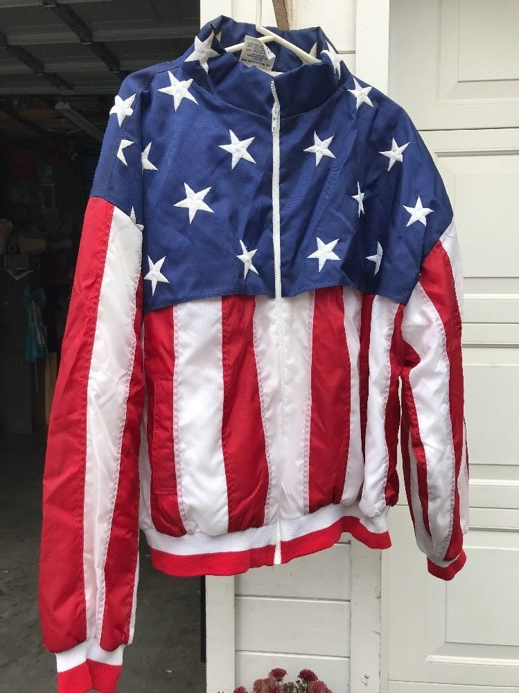Vtg Rare Usa American Flag All Over Print Windbreak Bomber Jacket Mens Xxl Windb Chaquetas Compras