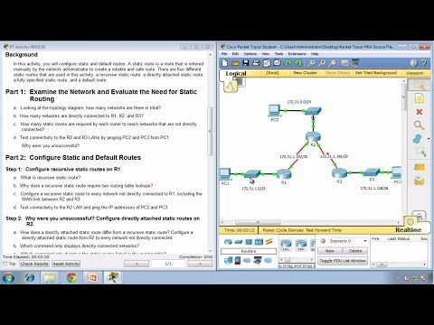 11 Packet Tracer 6 2 2 4 Configuring IPv4 Static And