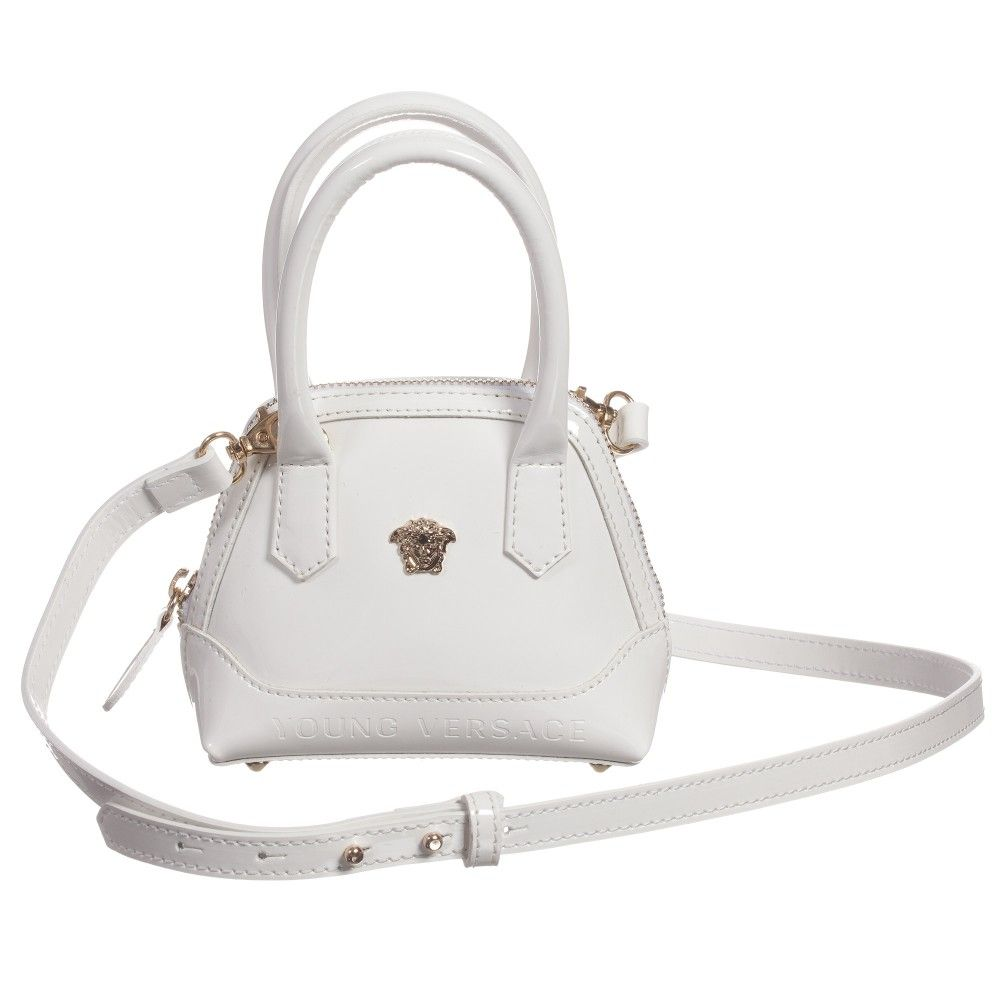 Very Small But Perfectly Formed This Mini White Patent Leather Handbag By Young Versace Has