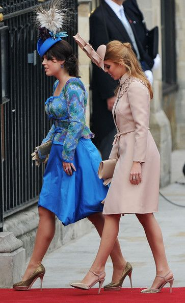 Princess Eugenie of York (L) and Princess Beatrice of York arrive to attend the Royal Wedding of Prince William to Catherine Middleton, 2011