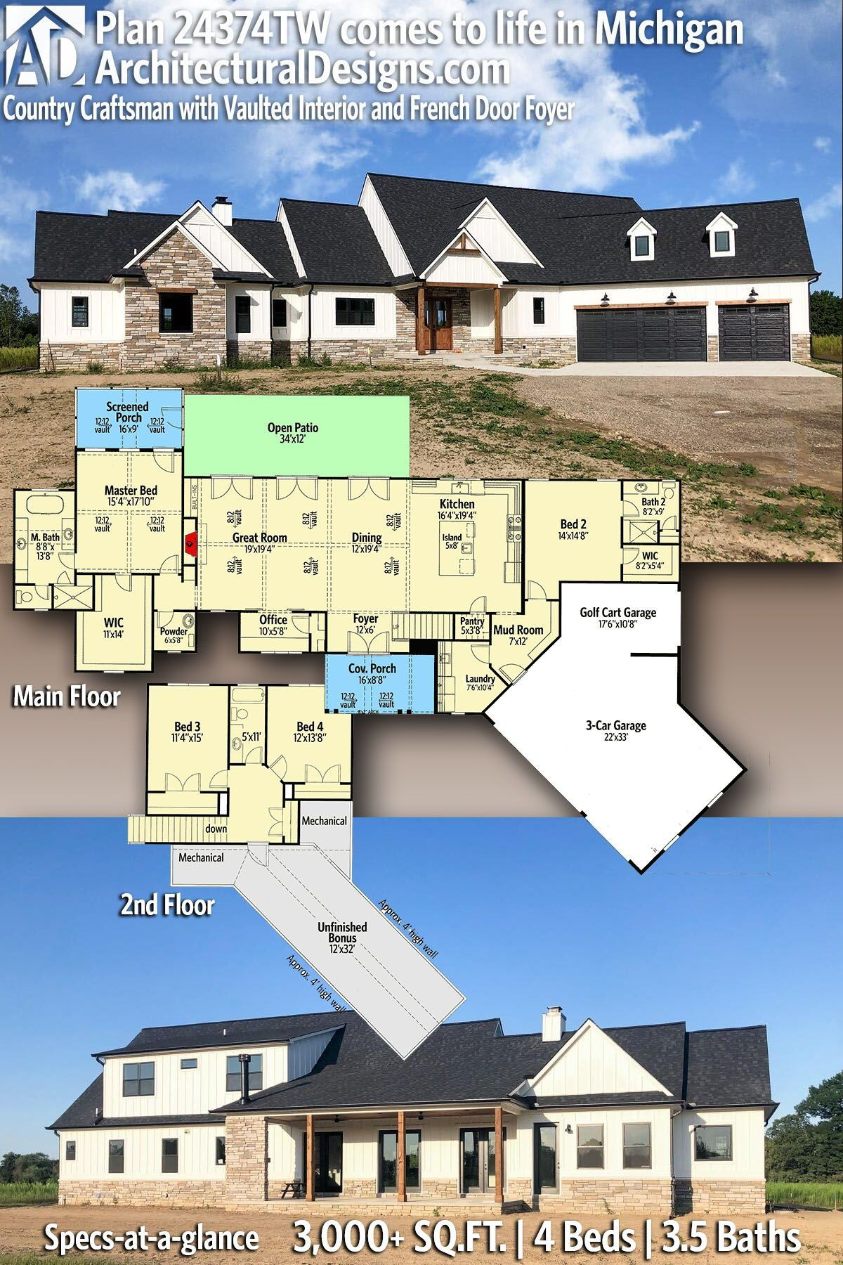 Plan 24374tw Country Craftsman With Vaulted Interior And French Door Foyer Craftsman House Plans House Plans Farmhouse Architectural Design House Plans
