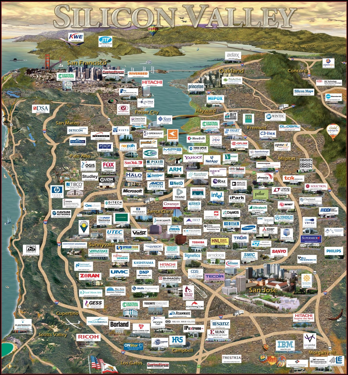Silicon Valley was only mentioned in maps