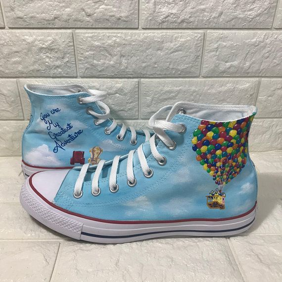 UP Converse Hand painted custom shoes Ellie  Carl Adventures is out there Disney Toms Pixar Converse UP themed wedding shower Source by lillyxmarleen shoes