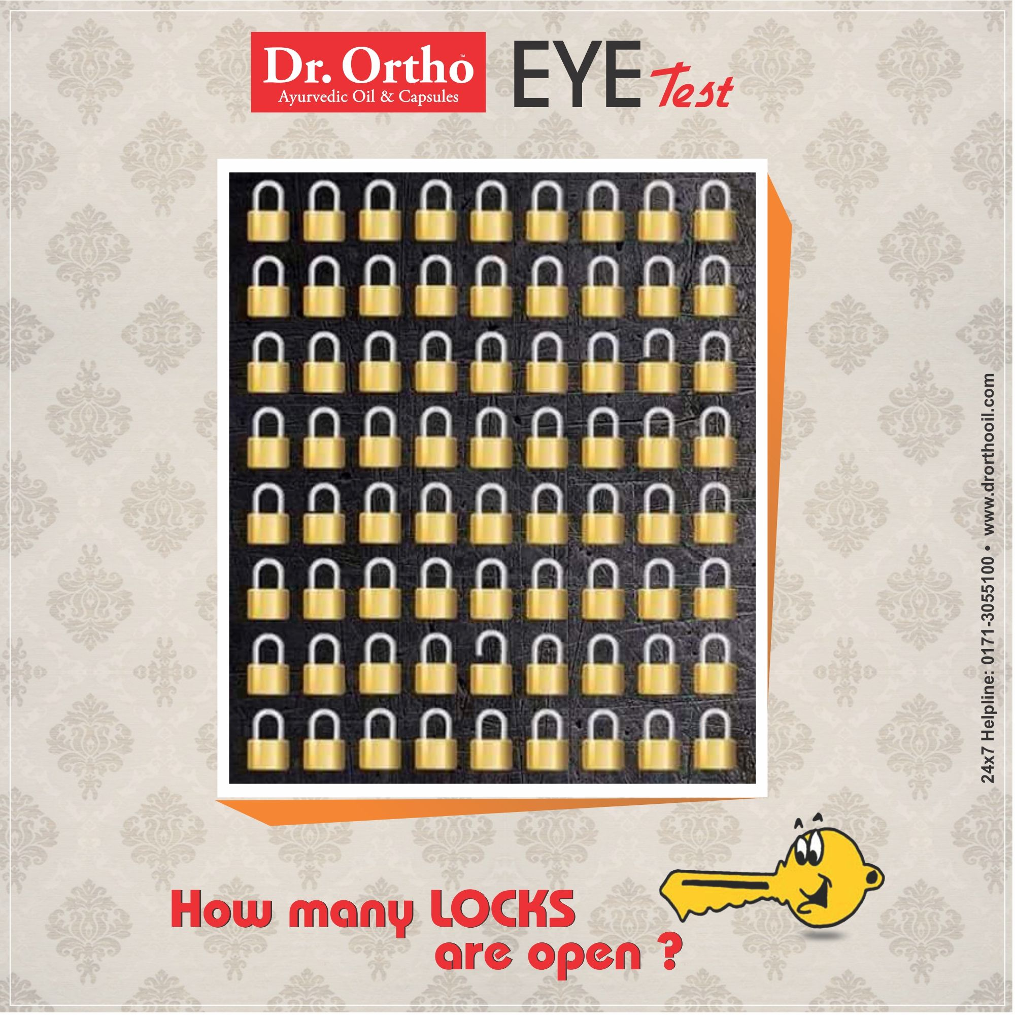 Dr.Ortho EYE TEST How many Locks are Open ? Guess The Right Answer ...