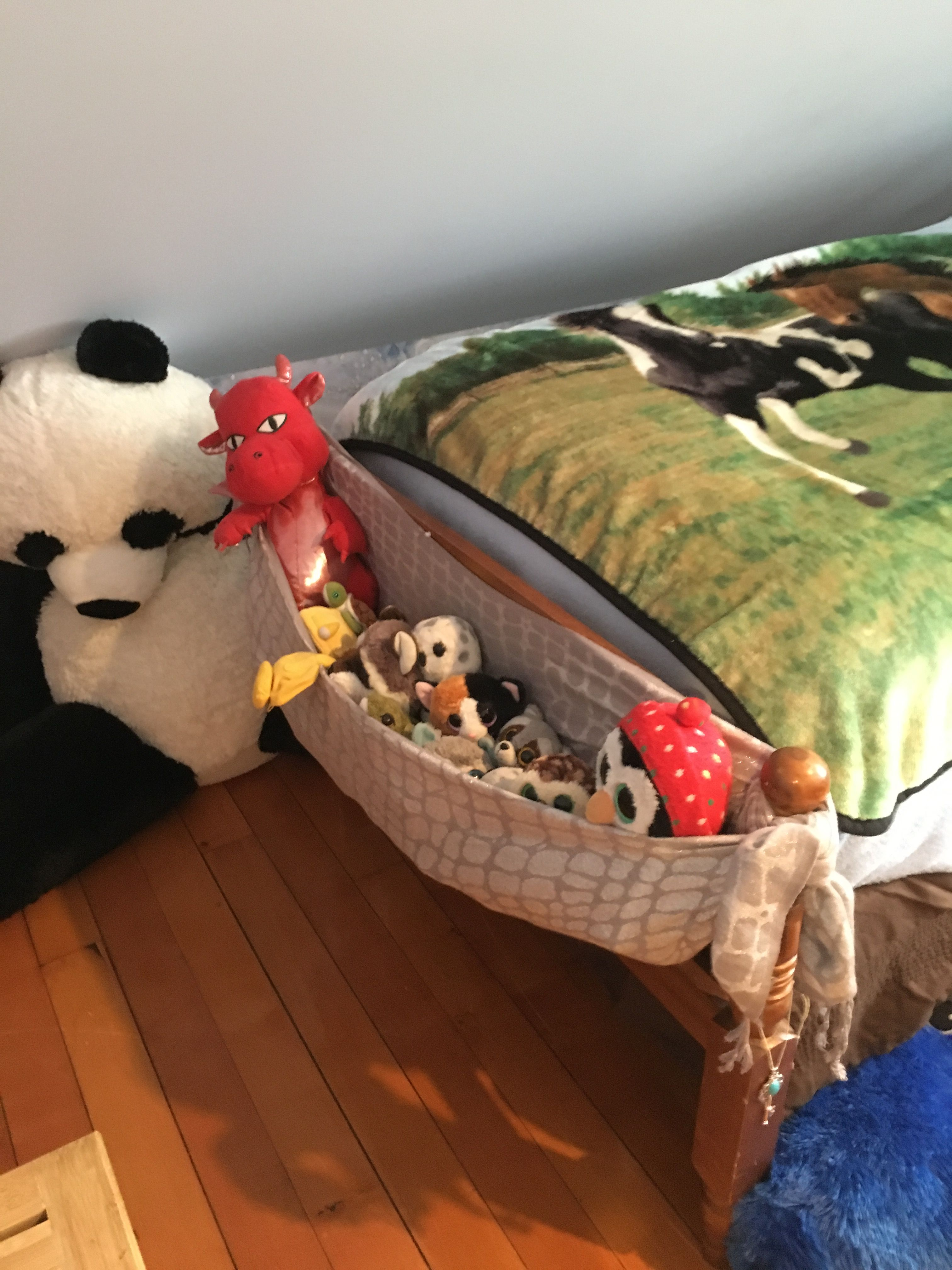 Tie a scarf around the bed posts for a stuffed animal