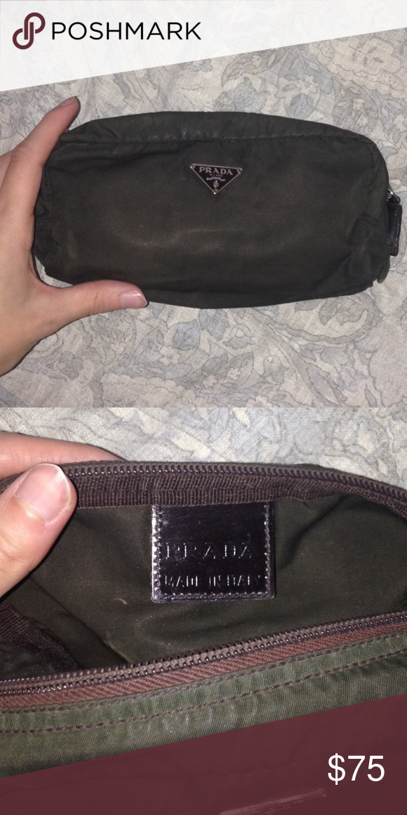 d5c17782c0afbd ... canada authentic prada makeup bag olive green dark brown neutral tone  prada makeup bag. prada