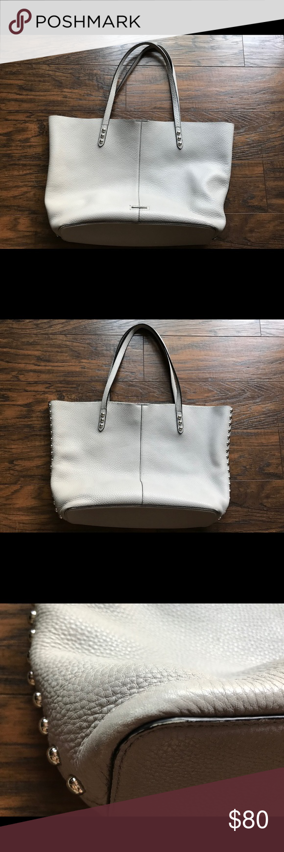 71deae143 Rebecca Minkoff Putty Unlined Tote w/ Dome Studs Gently used Rebecca  Minkoff tote with silver