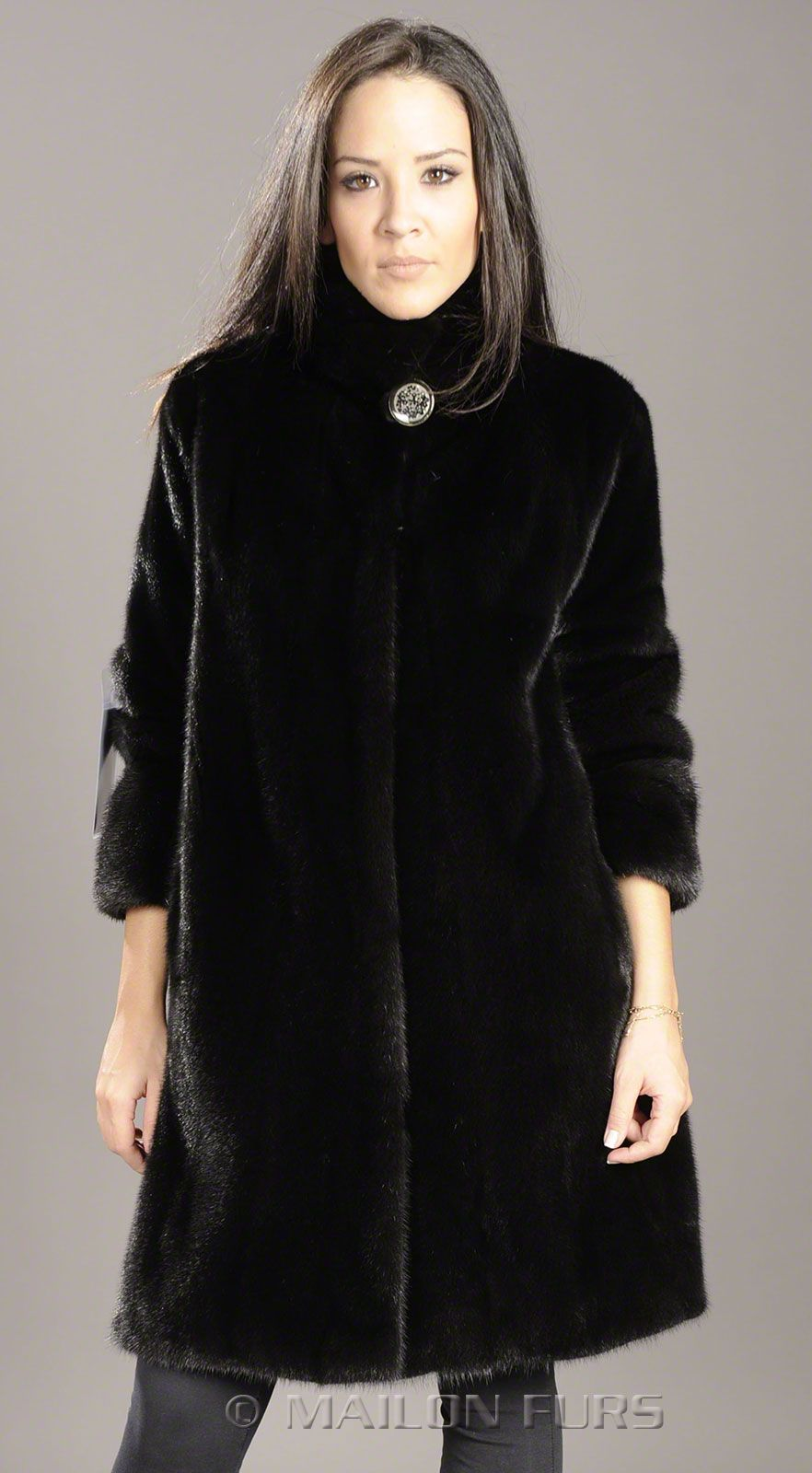 Black Mink fur jacket coat with short sleeves | Furs, Fashion, and ...