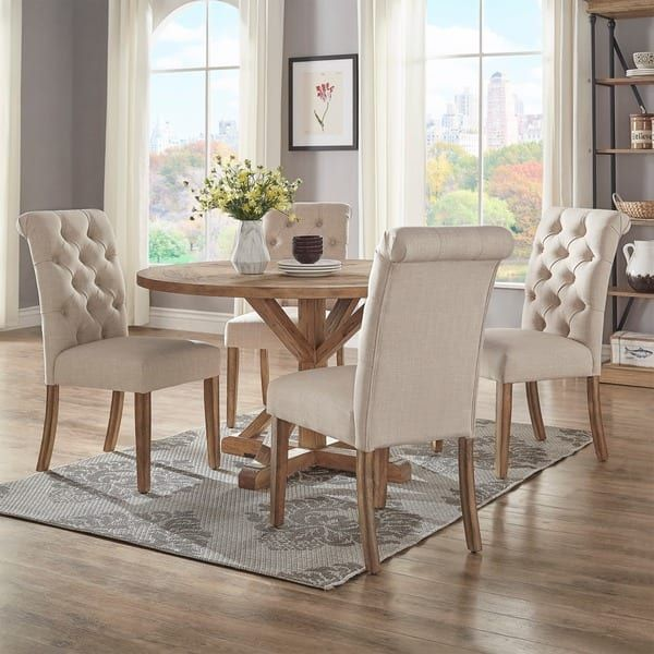 Benchwright Rustic X-base 48-inch Round Dining Table Set by iNSPIRE