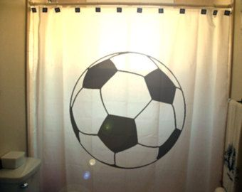 Soccer Ball Shower Curtain Football Bathroom Decor Kids Bath