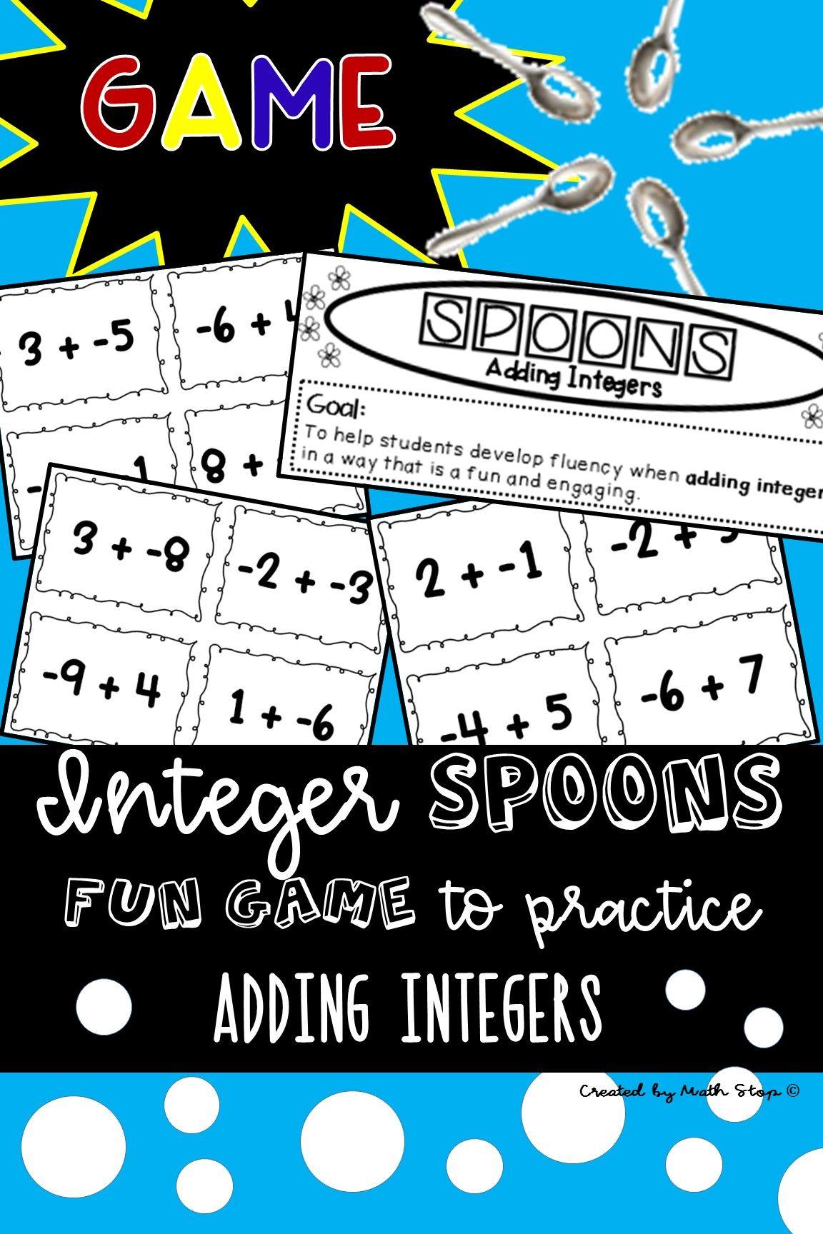 Integer Spoons Game Adding Integers Adding Integers Integers Math Games Adding integers super teacher