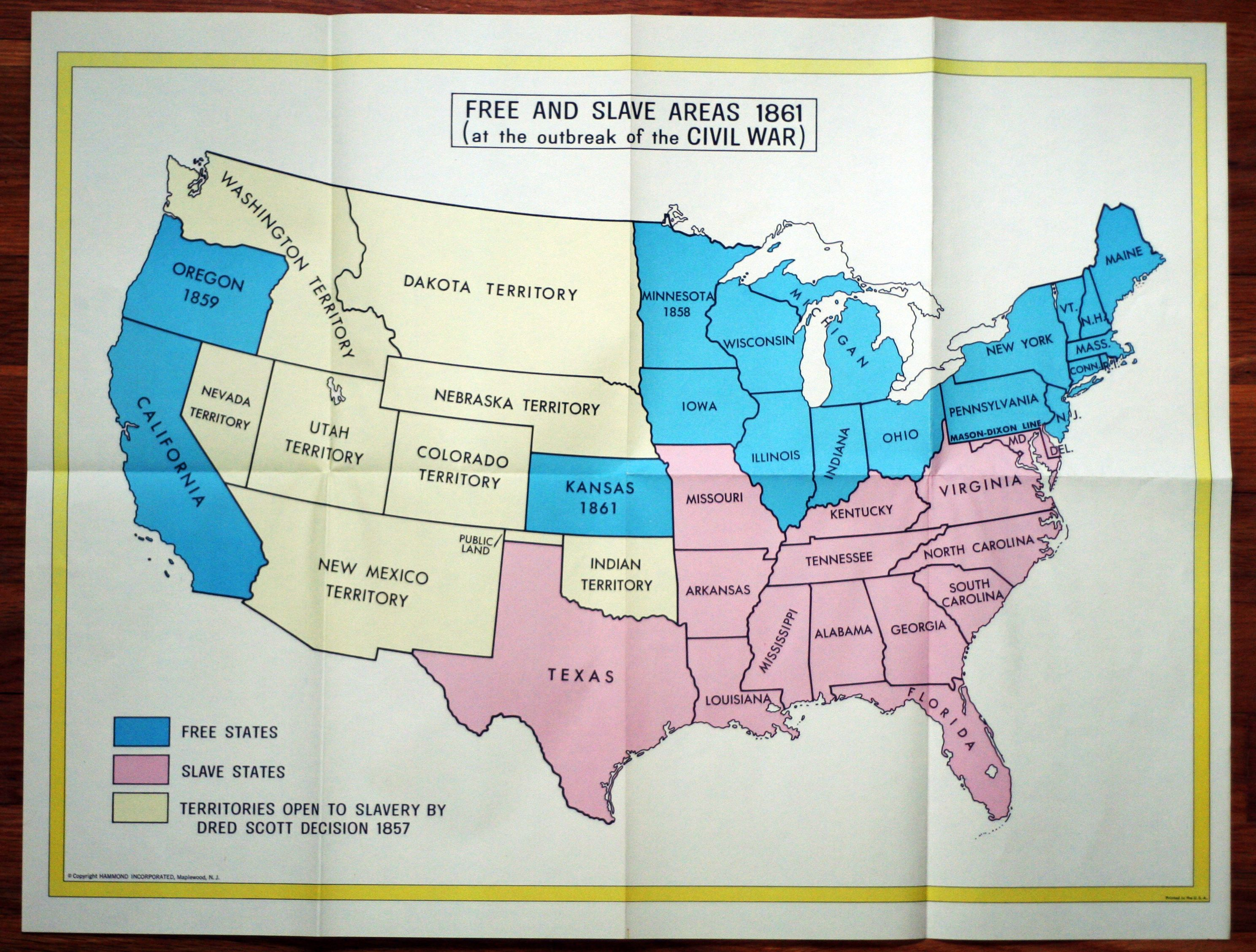 Mason Dixon Line As Of 1861 Map Of The Us School Ideas War - Map-of-the-us-in-1861