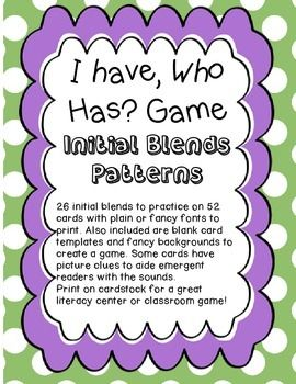 I Have Who Has Game For Initial Blends Blank Card Template Initials Teaching Game
