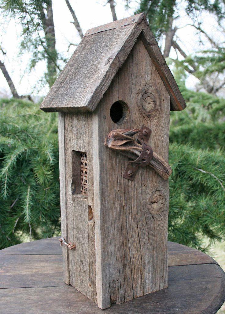 2 Story, All Weathered Wood Birdhouse Bird houses, Wood
