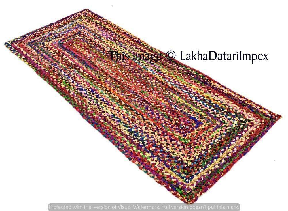 Rug Runnerbraided runner rug Ethnic Indian Handmade rug runner bohemian decor colourful area rug home decor runner 2x6 feet  Cotton Rug Runnerbraided runner rug Ethnic In...