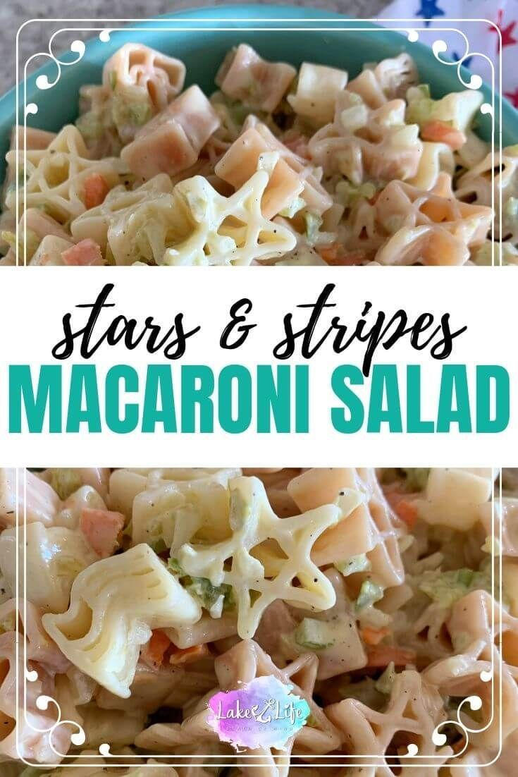 Patriotic Classic Macaroni Salad #labordayfoodideas I'm always looking for easy Patriotic food ideas to bring to a summer potluck or a Memorial Day, 4th of July, or Labor Day BBQ. This creamy summer pasta salad recipe is made with American-themed pasta from World Market. Stop by the lake and learn how to make this classic macaroni salad recipe for all your summer lake days. #macaronisalad #pastasalad #sumerfood #memorialdaybbq #fourthofjuly #lakelifestateofmind #labordayfoodideas