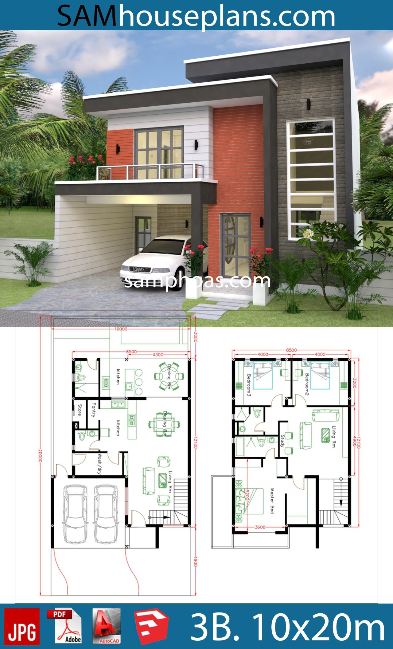 House Plans Plot 10x20m With 3 Bedrooms Sam House Plans Duplex House Design Duplex House Plans House Construction Plan