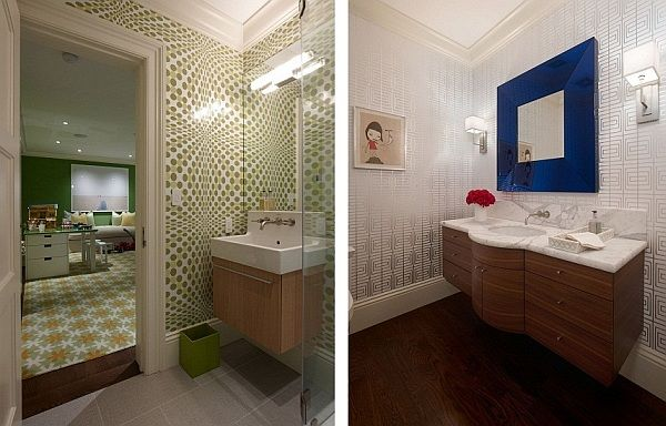 Interior, Fabulous Modern Home Interior with Soft Natural Theme: Fancy Bathroom With Wooden Floating Washbasin