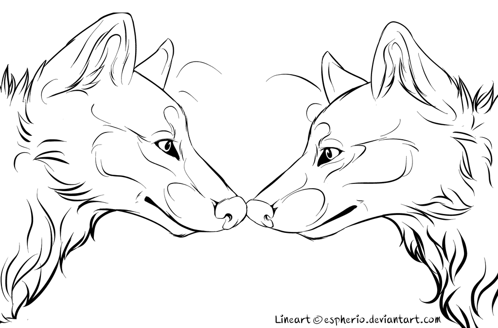 Wolf Couple Free Lineart Ms Paint Friendly Animal Drawings Wolf Painting