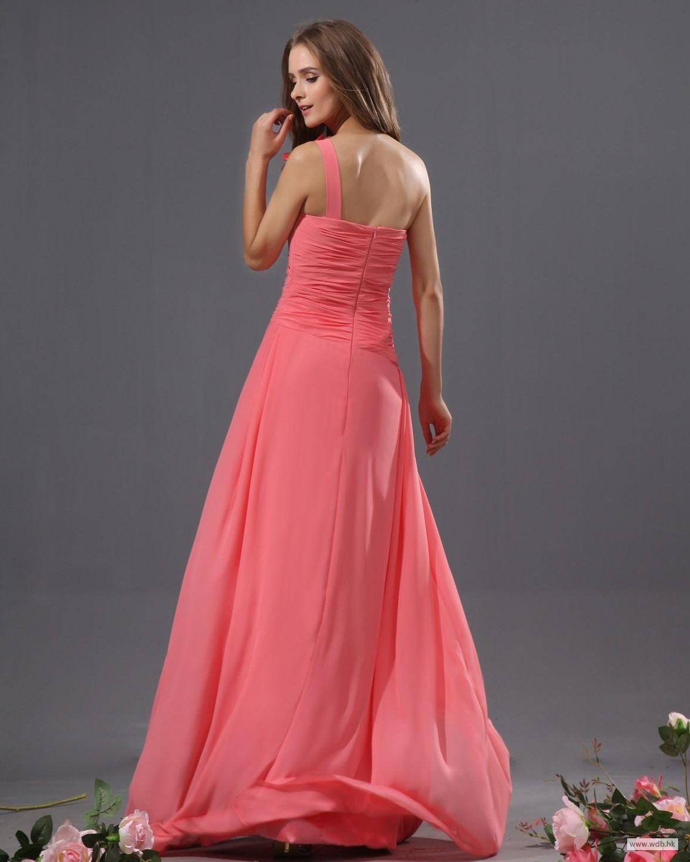 Beach wedding dresses bowtie chiffon one shoulder floor length
