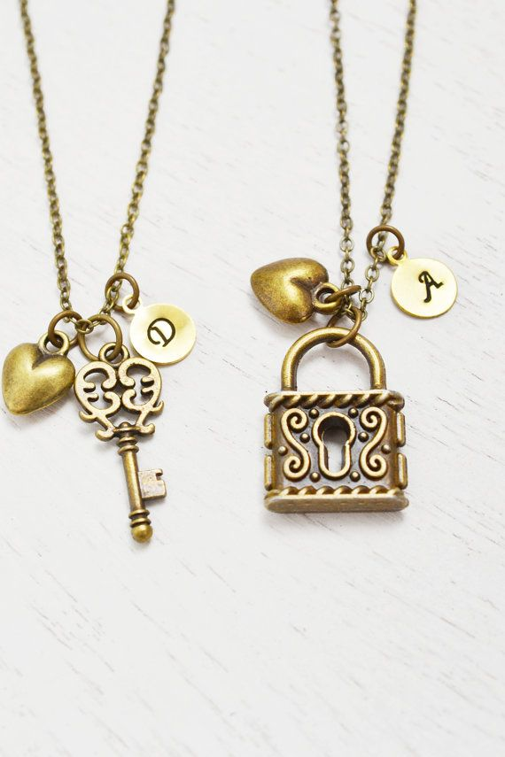 b081025375 best friend necklace,heart jewelry,key lock couples matching necklace,best  friend gift,skeleton key,custom initial,friend birthday,bff gift