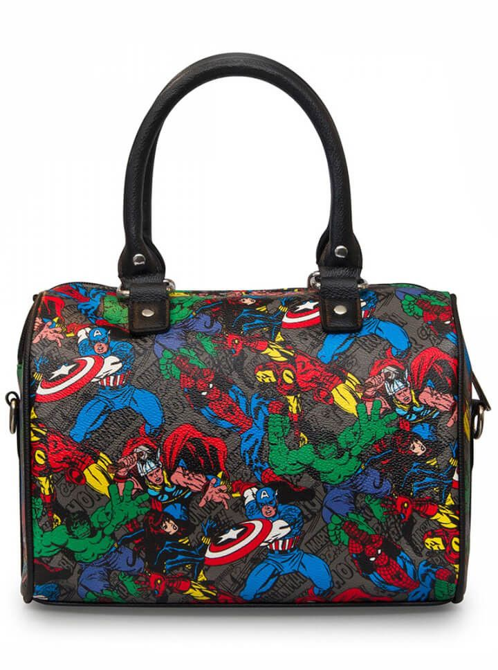 Character Print Duffle Bag By Loungefly X Marvel Black Multi