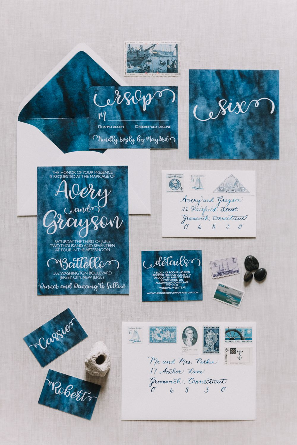 avery address labels wedding invitations%0A Elevated Nautical themed wedding invitations  deep navy watercolor with  contrasting white envelopes  navy calligraphy