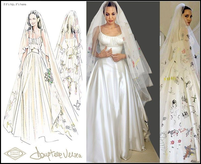 Angelina Jolie Pitt S Wedding Gown And Veil Decorated With Her Children S Art If It S Hip It S Here Angelina Jolie Wedding Dress Angelina Jolie Wedding Wedding Dress Trends