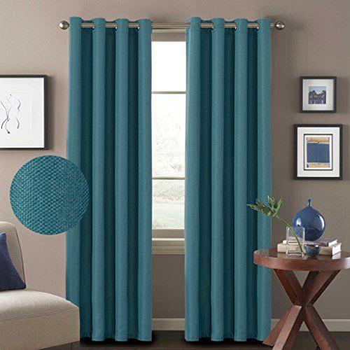 Hversailtex 2 Panels Primitive Linen Look Room Darkening Entrancing Teal Living Room Curtains Inspiration Design