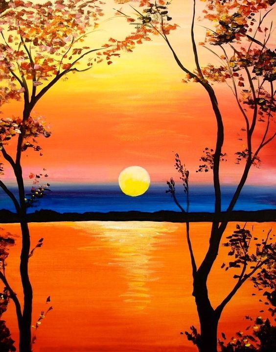 Puestadesol Pintura Lago Landscape Paintings Sunset Painting Simple Acrylic Paintings