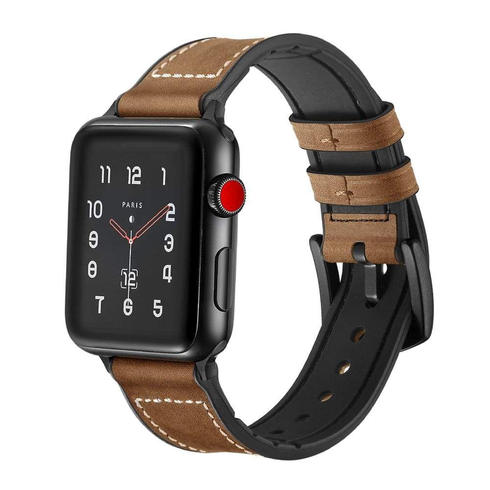 Apple Watch Series 5 4 3 2 Band Leather Over Silicone Apple Watch Band Strap 38mm 40mm 42mm 44mm Us Fast Shipping Apple Watch Bands Leather Watch Bands Apple Watch Bands 42mm