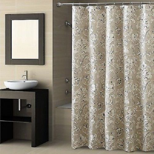 Croscill Natalia Fabric Shower Curtain Blue Silver Taupe Cream