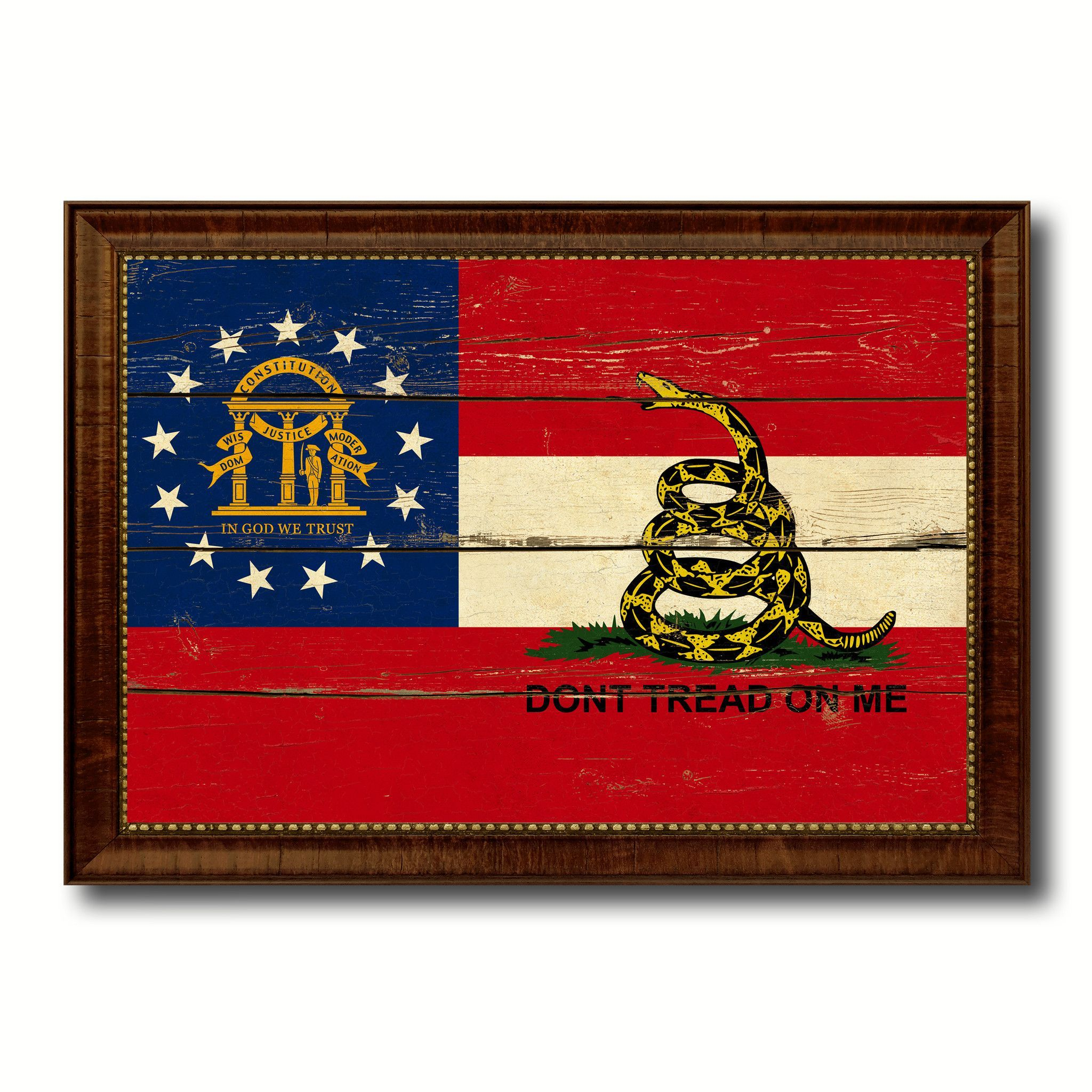Gadsden Don't Tread On Me Georgia State Military Vintage Flag Brown Picture Frame Gifts Ideas Home Decor Wall Art