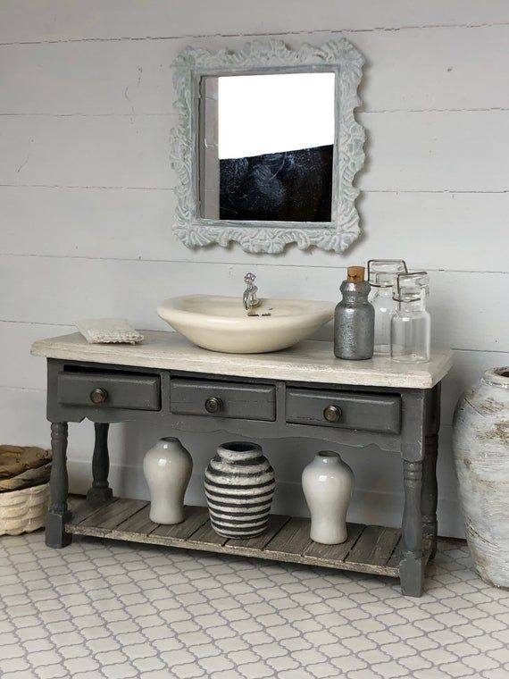 Miniature Bath Vanity, Miniature Sink, Dollhouse Sink, Dollhouse Vanity, Miniature Furniture, Dollhouse Furniture, Shabby Chic Dollhouse