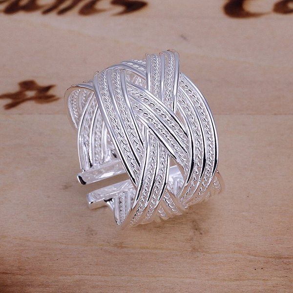 Wholesale Romantic Sweet Jewelry Silver Color Braid Ring Only $1.36 Drop Shipping | TrendsGal.com