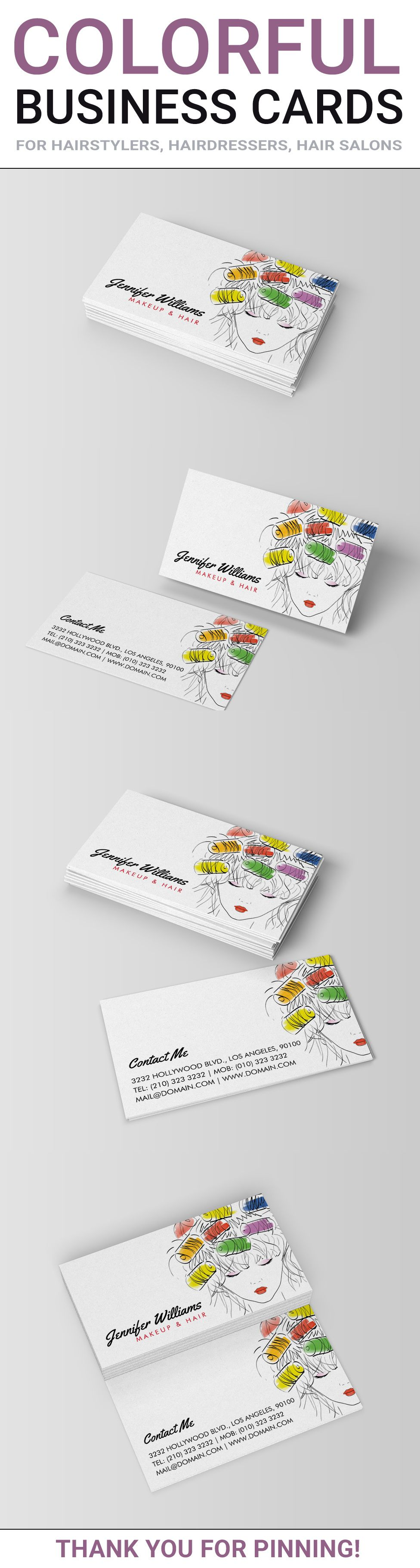 Modern illustrated hair and makeup business cards, ideal for ...