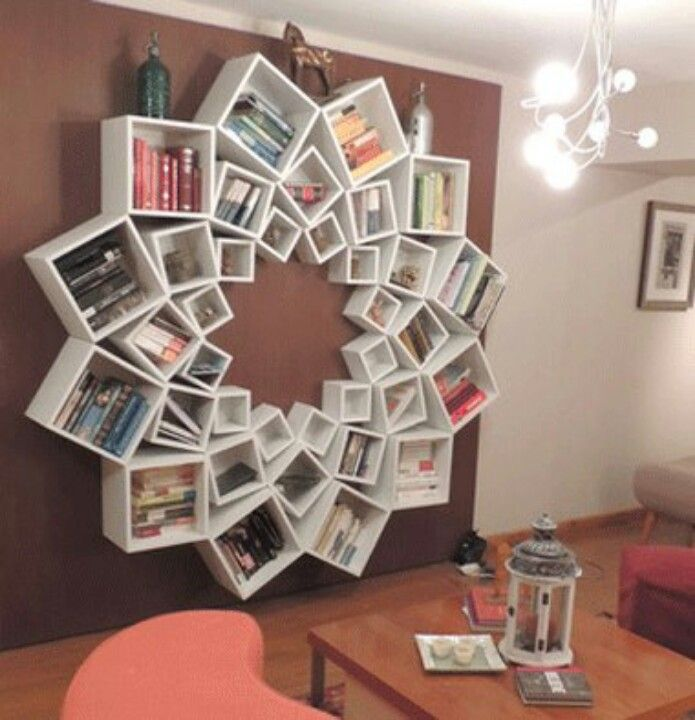 Amazing storage idea: creative use of standard sized storage shelves to add some artistic flair