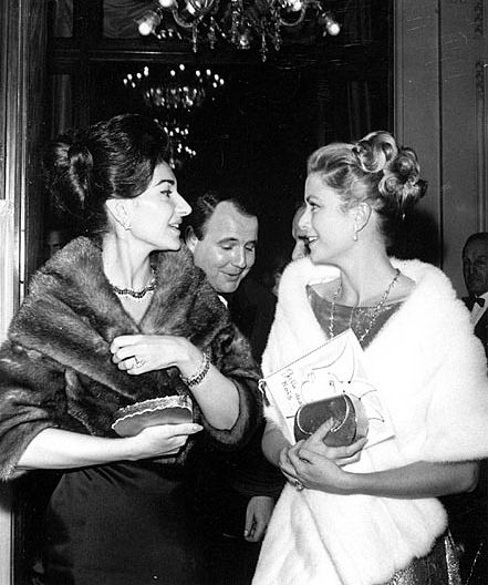 Love this pic of the amazing Maria Callas with Princess Grace......juxtaposed, hair similar...one dark one light!