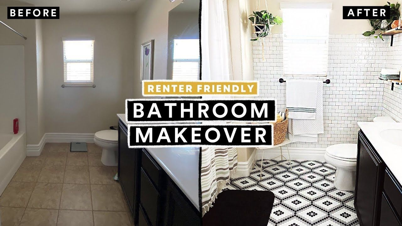 Bathroom Makeover Under 300 Renter Friendly Diy Tile Floor Brick Wall Youtube In 2020 Bathroom Makeover Tile Floor Diy Diy Bathroom Makeover