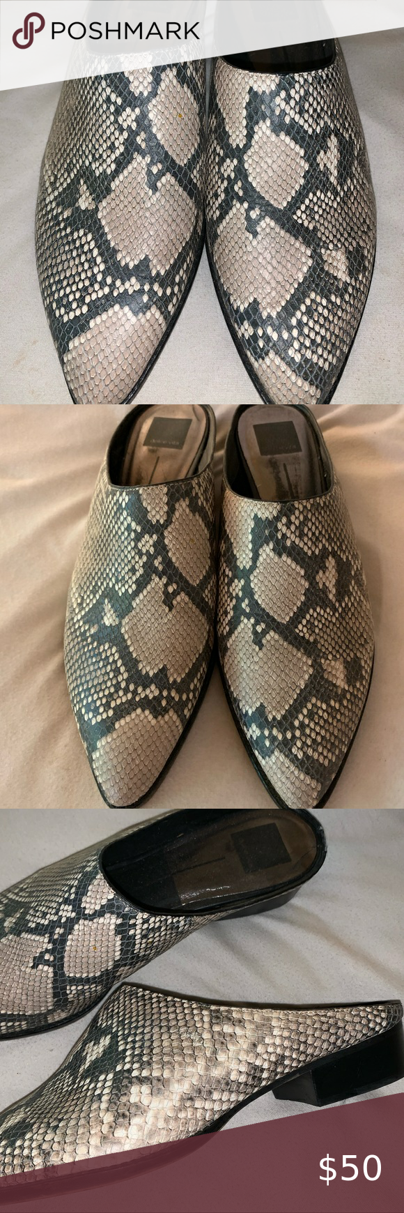 Dolce Vida snake print mules loafers size 10 WORN ONCE GREAT CONDITION   Slight …