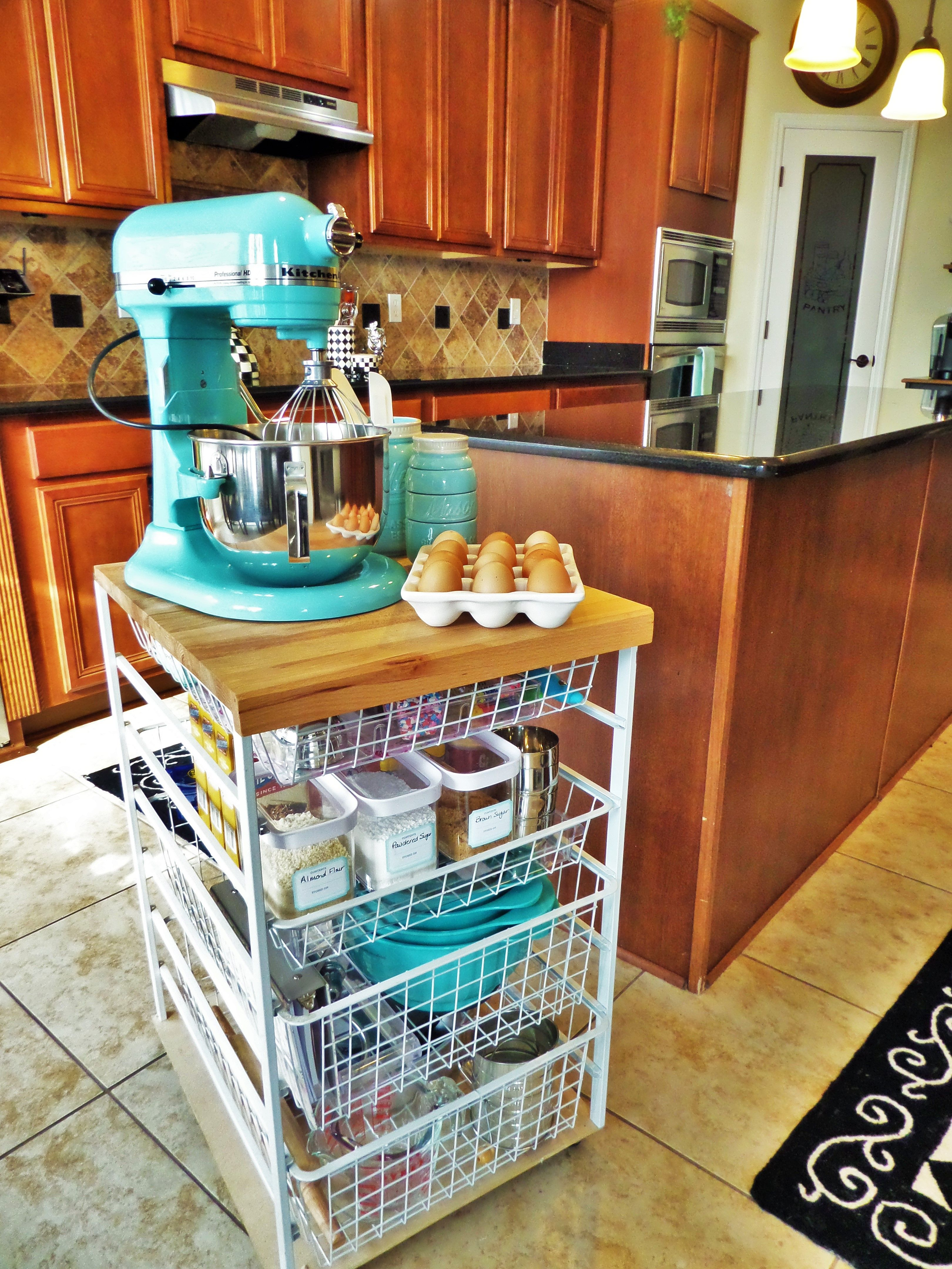 Baking Station A Great Use For An Ikea Cart?! Couldnu0027t Use The Mixer But  Awesome For Baking Storage