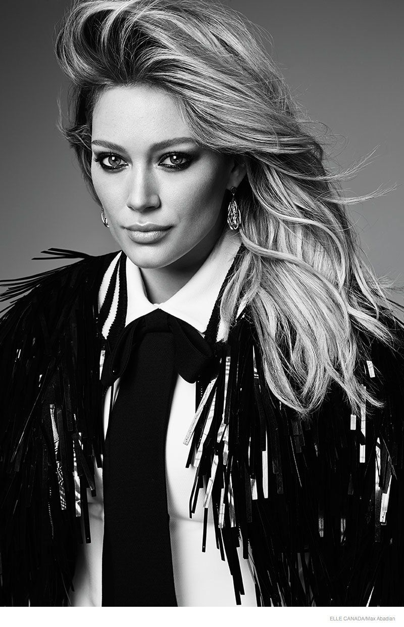Hilary duff gets glam for elle canada december cover story